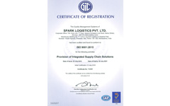 Spark Logistics - An ISO 9001 : 2015 Certified Company